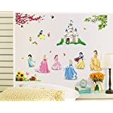 The Splash Cute Princess Wall Sticker (Multi-Color, Wall Covering Area - 110(w) x 85(h) cm)