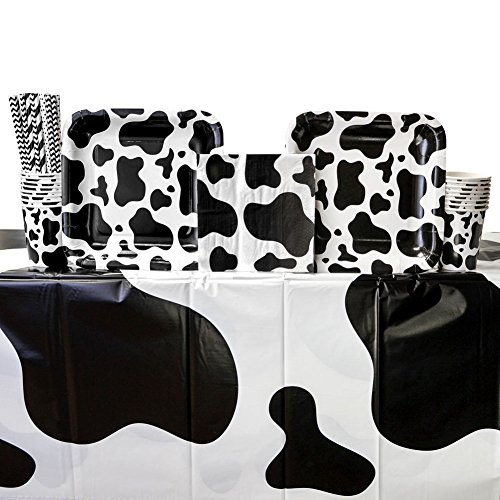 Cow Print Party Supplies Pack for 16 Guests: Straws, Dinner Plates, Luncheon Napkins, Cups, and Table Cover Cow Print Party Supplies