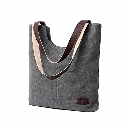 One Pocket Tote - SELECTIA Women's Heavy Duty Durable Cotton Canvas Tote Shoulder Bag for Women Men School Bag Washable Unisex with zipper bulk organizer insert canvas with pockets and wallet set art supplies 1 (Gray)