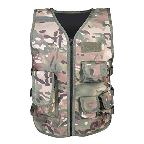 Tosuny Walkie-Talkie Chest Bag, Tactical Vests Children Kids Adjustable Multi-Function Tactical Radio Chest Rig Harness,Waistcoat Military Camouflage Vest