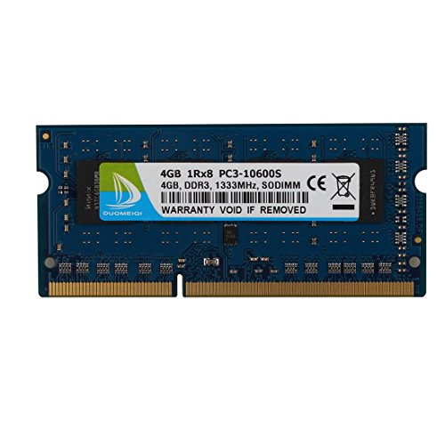DUOMEIQI 4GB DDR3 1333MHz Sodimm 1RX8 PC3-10600S 204pin 1.5v CL9 Unbuffered Non-ECC Notebook Memory Laptop RAM Module for Intel AMD and Mac System