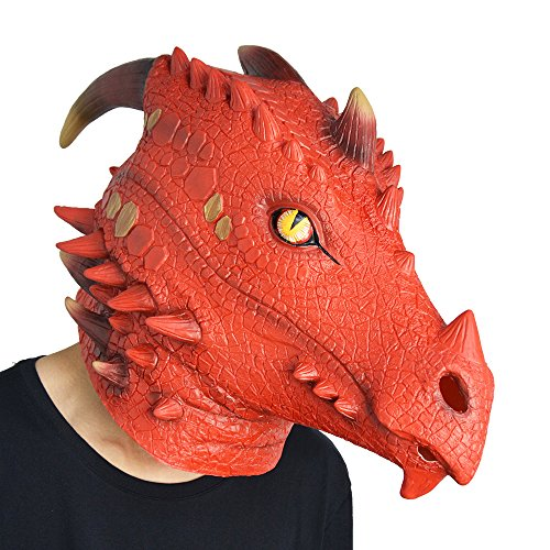 Amazlab Fire Dragon Mask for Halloween Costume Party Decorations, Halloween Props, Halloween Supplies