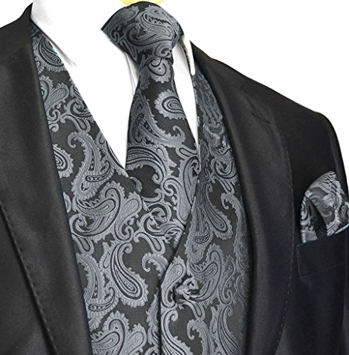 Tux Vest Mens - Men's 3pc Paisley Vest (2XL (Chest 48), Charcoal)