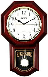 Maple\'s Traditional Plastic Wall Clock with Pendulum