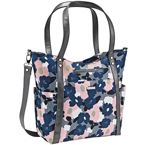 JJ Cole - Bucket Tote, Gender Neutral Large Capacity Diaper Bag, Multifunctional, Stylish, with Stroller Clips and Changing Pad, Heather Floral