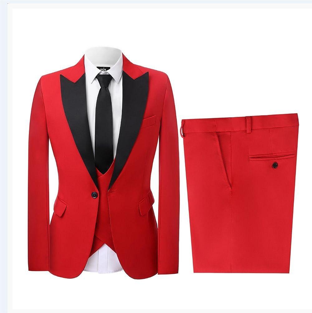 Mens 3pcs Dress Formal Suits Slim Fit Bridegroom Blazers Wedding Coat//Vest//Pants