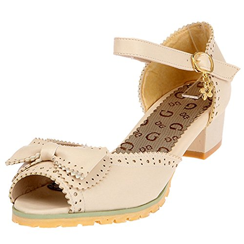SJJH Casual Sandals with Chunky Heel and Open Toe Sandals with Mini/Large Beige VNq28sO