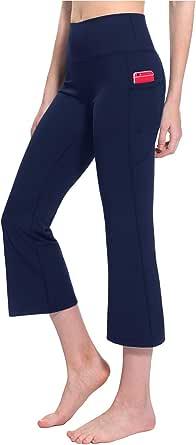 TAIBID Women's High Waist Yoga Capri Pants Side Pockets Flare Workout Bootleg Crop Leggings, Size S - XL