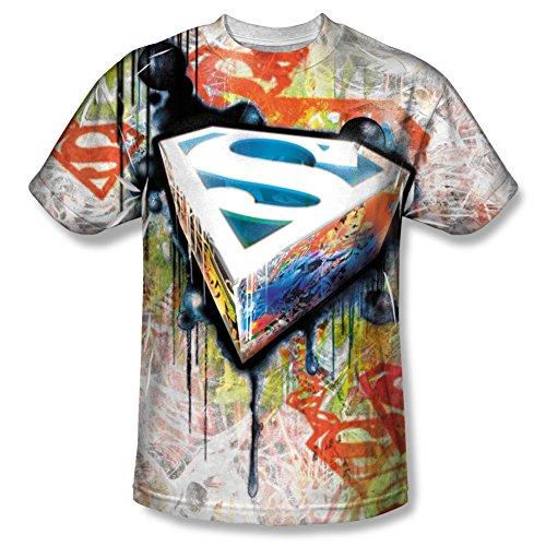 Superman Cartoon TV Series Movie Glowing Grafitti Logo Adult Front Print T-Shirt