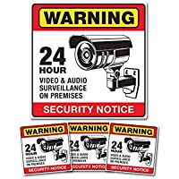 24 Hour Surveillance Warning Camera Sign & Decals - 2 Signs and 6 Stickers