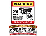 Weatherproof Audio Video Surveillance security camera system Warning Alert sticker decals and sign for home or business. CCTV warning sign or decal may be all you need.