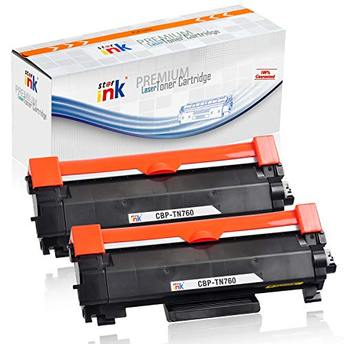 Starink Compatible Toner Cartridge Replacement for TN760 TN-760 TN730 TN-730 High Yield Black for HL-L2350DW HL-L2390DW HL-L2395DW HL-L2370DW DCP-L2550DW MFC-L2710DW MFC-L2750DW Printer 2 Pack