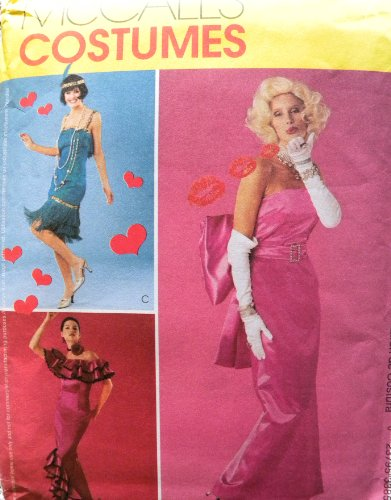 McCall's 3385 Misses Glamour Costumes: Flapper, Marilyn Monroe, Spanish Dancer Sewing Pattern Size -
