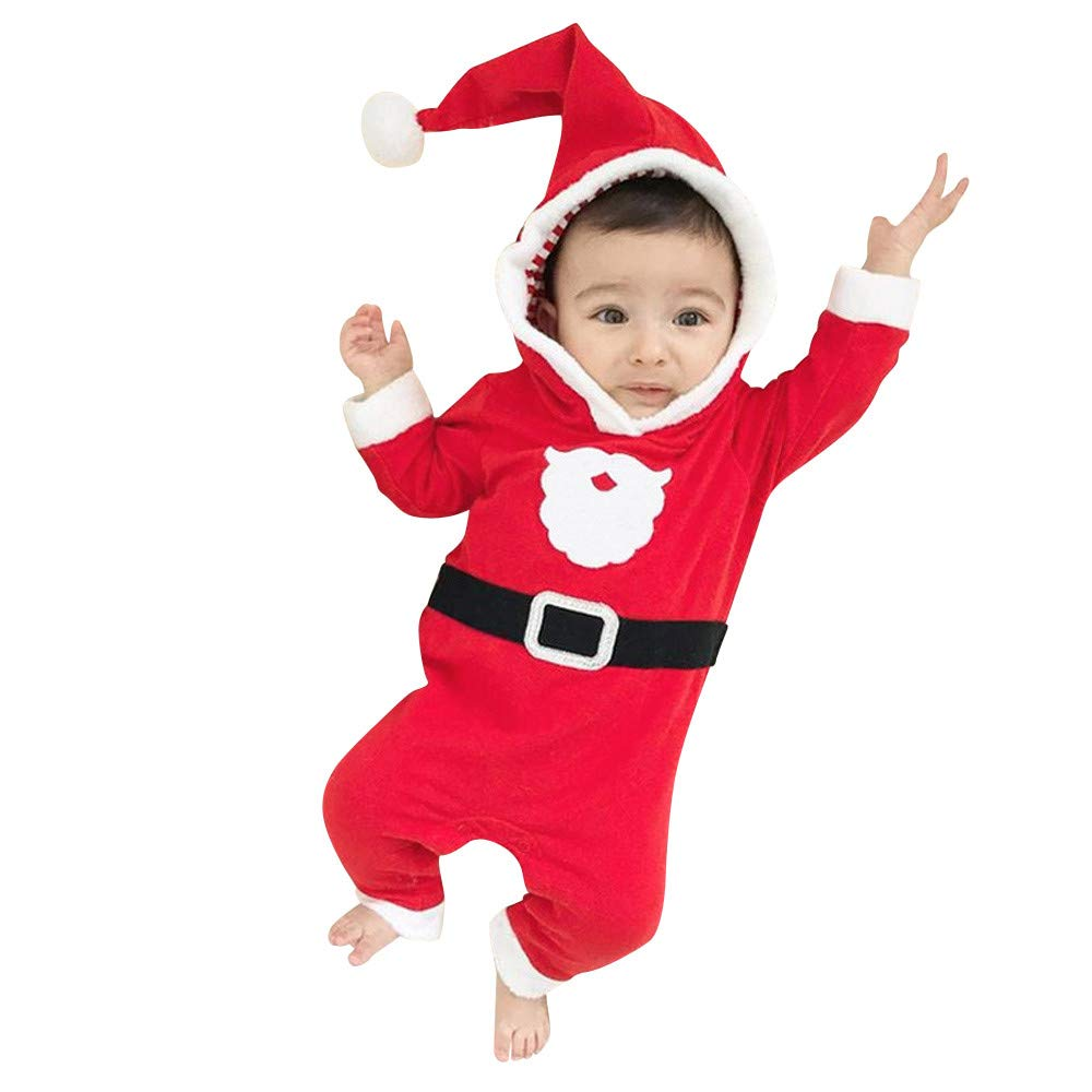 Matoen Infant Baby Boys Girls Christmas Santa Hooded Romper Jumpsuit Outfits