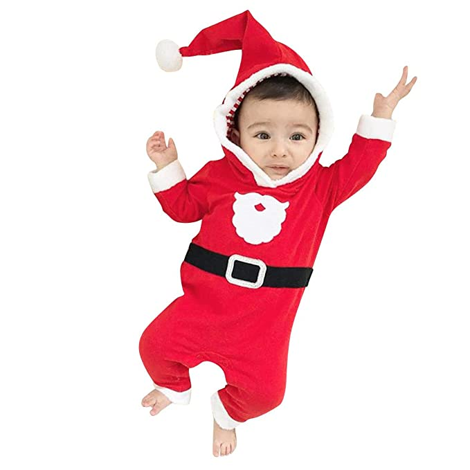 K-youth Ropa Bebe Niño Navidad Dibujos Animados de Santa Claus Terciopelo  Body Bebe Manga 68d9fe9a8bd4