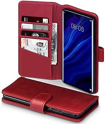 TERRAPIN Funda para Huawei P30 Pro Cartera de auténtico Cuero, Tapa Delantera con Billetera para Tarjetas, Adaptable en posicion Horizontal - Rojo
