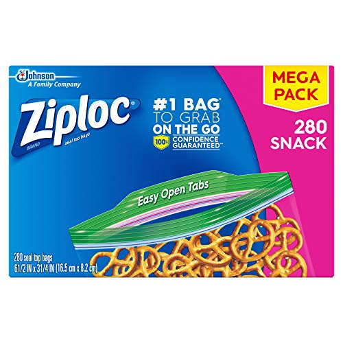 Ziploc Snack Bags with New Grip 'n Seal Technology, Ideal for Packing Cookies, Fruits, Vegetables, Chips and More, 280…