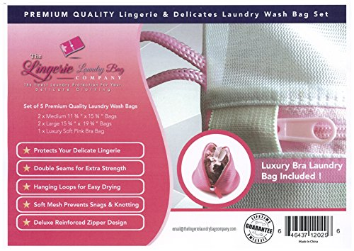 Delicates Laundry Bags, 5 Piece Set of Premium Quality Lingerie Bags for Protecting Laundry during Washing and Drying