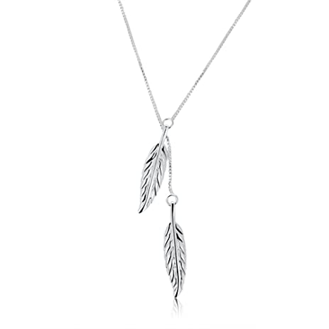 Amazon sterling silver plated leaf pendant necklace for women sterling silver plated leaf pendant necklace for women teen girls jewelry mozeypictures
