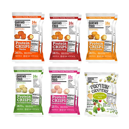 Shrewd Food Keto Protein Crisps VARIETY 12 PACK | High Protein, Low Carb, Gluten Free Snacks | No Artificial Flavors | Soy Free, Peanut Free