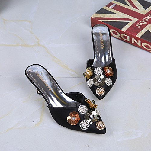 Pointed Sequins Btrada Flower Slides Pumps Black Women's Sexy Sandals Heeled Toe Slip Mules Kitten Heels on nwTvFwpRq