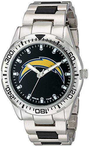 Game Time Men's 'Heavy Hitter'  Metal and Alloy Quartz Analog  Watch, Color:Silver-Toned (Model: NFL-HH-SD)