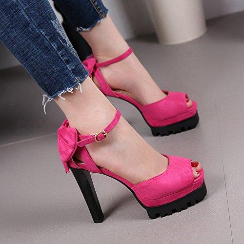 Rose rouge MDRW-Super épais Avec Une Boucle Les Talons De Chaussures étanches Des Sandales Des Chaussures à Talons De Femmes Avant L'été Bouche De Poisson Thirty-five