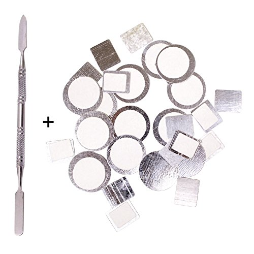 Palette Metal Stickers for Magnetic Makeup Palettes + Depotting Spatula - 30pcs Organizational Stickers (15pcs Round + 15pcs Square)