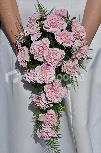 Bouquet Sposa Garofani.Romantico Rosa Garofano E Felce Cascade Bridal Wedding Bouquet