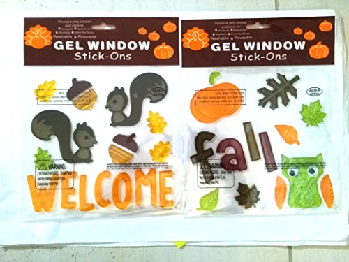 Squirrels, Owl and Welcome Fall with Leaves, Acorns and Pumpkin Gel Window Clings - Gel Window Stick-ons (2 Pack)