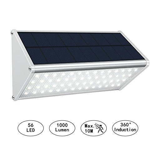 Solar Powered Motion Sensor Light Outdoor 56 LED Security Wall Light 1000 Lumen Aluminum Alloy Wireless Waterproof Lighting for Fence Garden Garage Stairs Driveway - Light 56 One