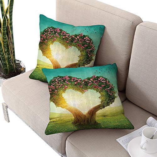 Brandosn Love Decor Collection Square Chaise Lounge Cushion Cover,Heart Shaped Tree in The Meadow Grassland Wildflowers Enchanted Fairytale Image Green Teal Pink Ivory W20 xL20 2pcs ()