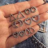 CHoppyWAVE 6 Pairs/Set Antique Boho Women Heart Round Teardrop Moon Triangle Stud Earrings - Antique Silver