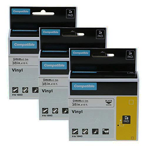 Aoimark 3 Pack Replace Dymo 18443 3/8 Rhino Industrial Permanent Vinyl Label Tapes Compatible with DYMO Rhino 4200 5200 6000 Label Makers and More, Black on White, 3/8 Inch x 18 Feet