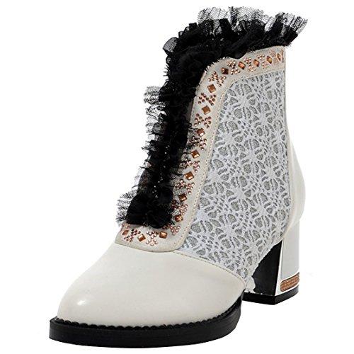 AIYOUMEI Damen Winter Blockabsatz Stiefeletten mit Spitze und Strass 5cm  Absatz Bequem Kurzschaft Stiefel Weiß