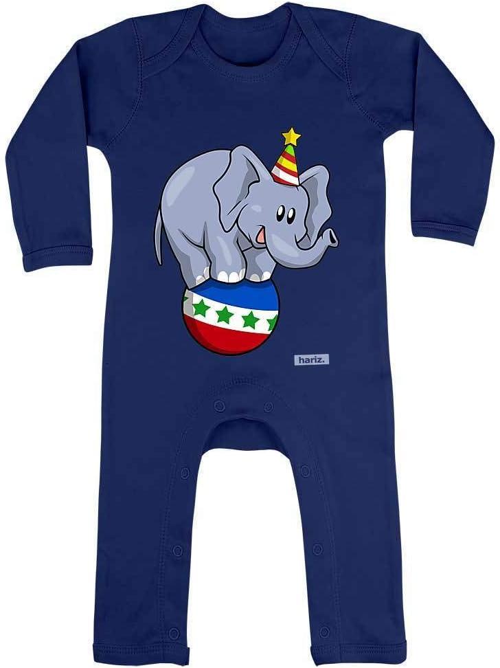 Hariz - Pelele para bebé, diseño de elefante y circo, con tarjetas de regalo azul Azul Oscuro Talla:3-6 meses