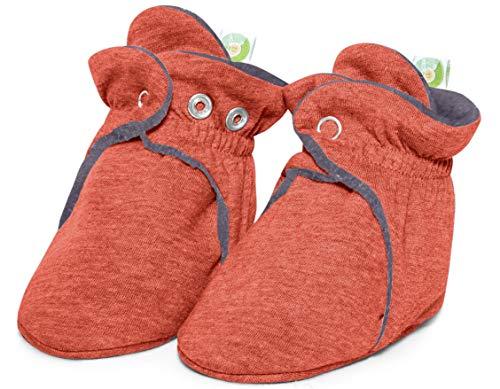 Bum Chicoo New Born Unisex Soft Organic Cotton Baby Booties (Orange, 6-12 Months) (Cotton Booties)