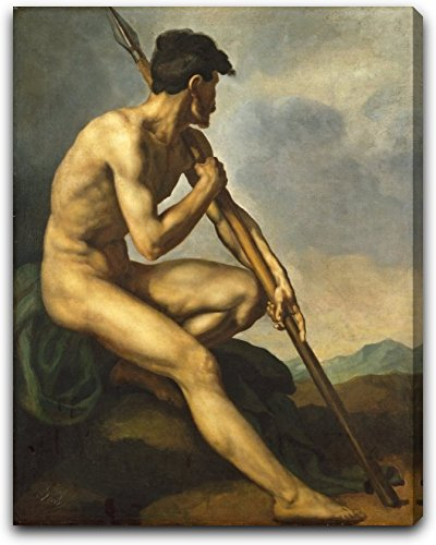 "Nude Warrior with a Spear by Theodore Gericault - 21"" x 26"" Extra Thick 2.5"" Gallery Wrapped Canvas Art Print - Ready to Hang"