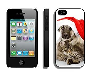 Individualization Christmas Dog and Cat iPhone 4 4S Case 4 Black