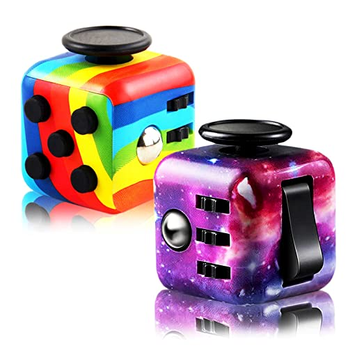 2 Pieces Fidget Cubes, Fidget Blocks for Stress and Anxiety Relief Mini Preschool Toys, Magic Puzzle Flip Cube Fidget Finger Toys Cube for ADD ADHD Killing Time (Starry Colorful)