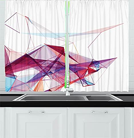 Abstract Decor Kitchen Curtains by Ambesonne, Modern Graphic Design with Smoky Rainbow like Cool Detailed Artprint, Window Drapes 2 Panels Set for Kitchen Cafe, 55W X 39L Inches, Multi Colored
