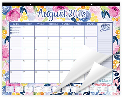 bloom daily planners 2018-2019 Academic Year Desk or Wall Calendar with Vision Board (August 2018 Through July 2019) - 21 x 16 - Watercolor Flowers