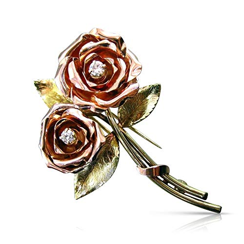 Milano Jewelers Large .17CT Diamond 14K Yellow & Rose Gold Handcrafted Rose Brooch