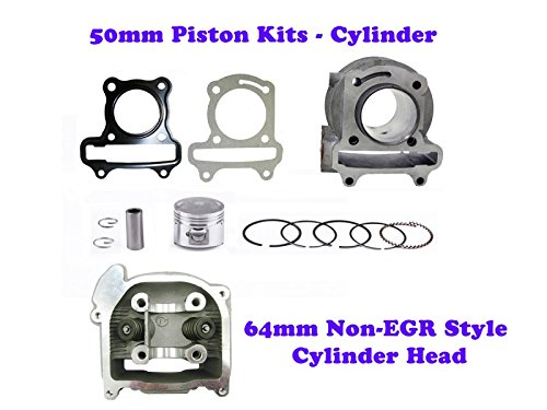 (100cc QMB139 50mm Big Bore Cylinder Kit GY6 engine with 64mm Non-EGR Head)