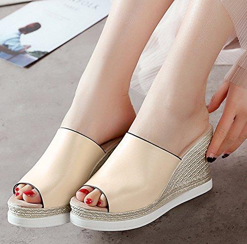 Easemax Mignon Chaussure Bout Beige Femme Mules Compensée Ouvert wwrWqFOg5a