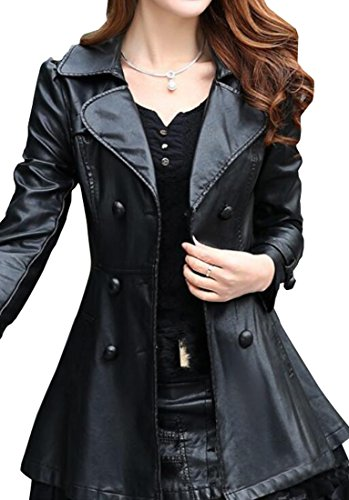 Double Breasted Belted Leather Jacket - 6