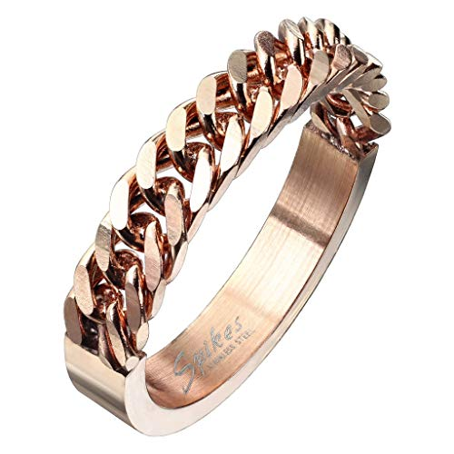 Paula & Fritz Stainless Steel Friendship Ring Half Circular Curb Chain Rose Gold Silver R9