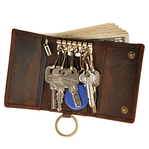 Le'aokuu Mens Genuine Leather Car Key Case Loop Hook Coin Case Cover Wallet Snap (Dark Brown)