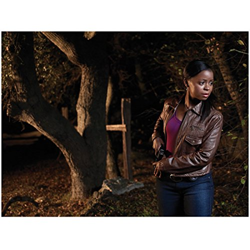 Erica Leather (Justified (TV Series 2010 - 2015) 8 inch x 10 inch PHOTOGRAPH Erica Tazel Outdoors Brown Leather Jacket Over Purple Top Ready to Pull Out Gun kn)
