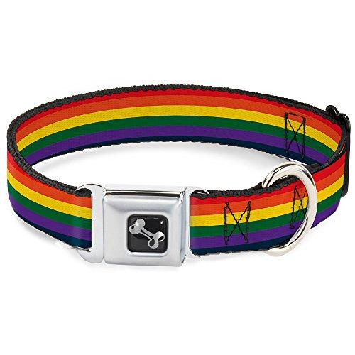 (Buckle-Down Seatbelt Buckle Dog Collar - Rainbow - 1.5